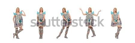 Vonzó nő kék ruha fehér nő divat Stock fotó © Elnur