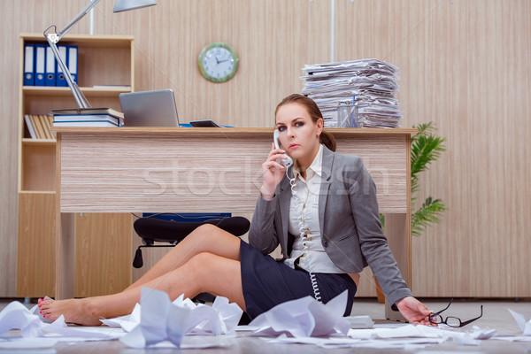 Ocupado estressante mulher secretário estresse escritório Foto stock © Elnur
