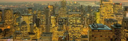 Vista nuevos Manhattan puesta de sol negocios cielo Foto stock © Elnur
