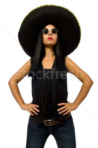 Stock photo: Young mexican woman wearing sombrero isolated on white