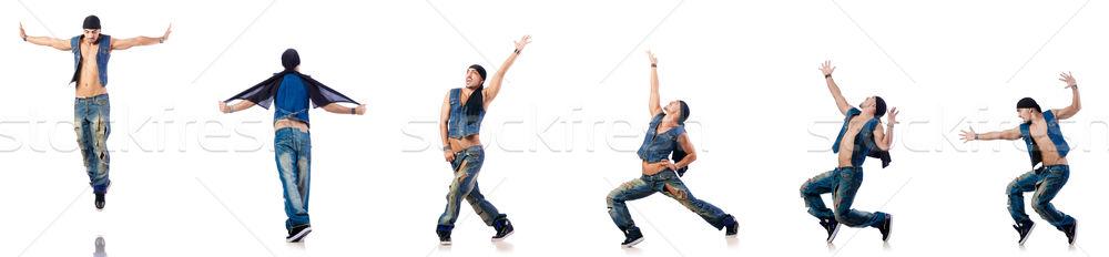 Stockfoto: Danser · dansen · witte · naakt · partij · gelukkig