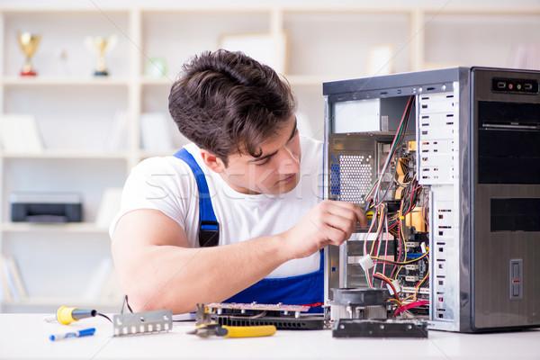 Stock fotó: Számítógép · szerelő · javít · asztali · számítógép · laptop · technológia