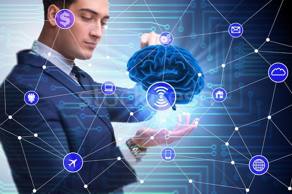 Yapay zeka beyin işadamı iş bilgisayar Internet Stok fotoğraf © Elnur