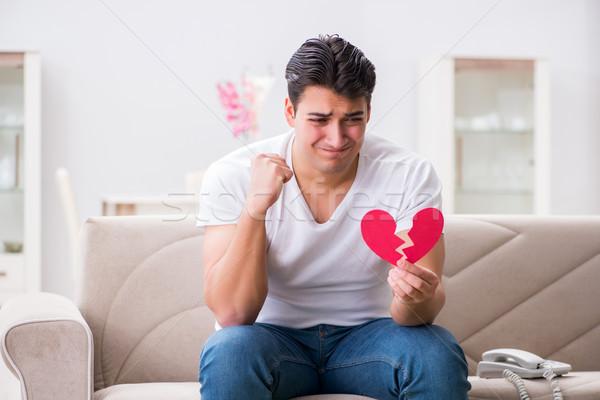 Jeune homme triste saint Valentin femme famille Photo stock © Elnur