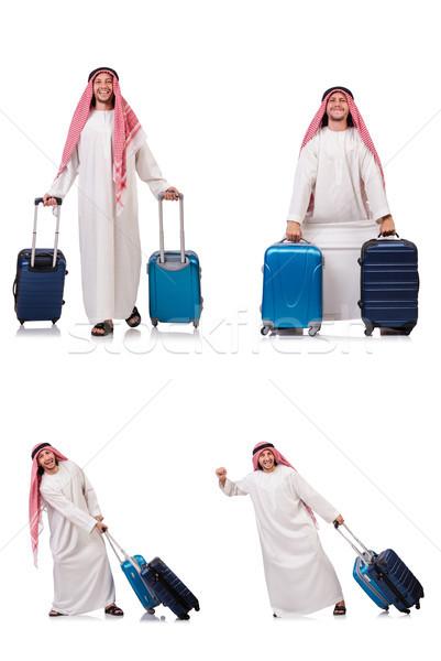Foto stock: Árabe · homem · bagagem · branco · negócio · fundo