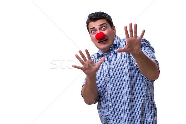 The funny man clown isolated on white background Stock photo © Elnur