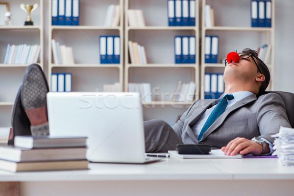 Palyaço işadamı yorgun uykulu ofis bilgisayar Stok fotoğraf © Elnur