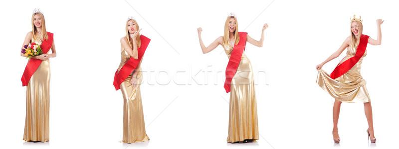 красоту королева конкурс изолированный белый женщину Сток-фото © Elnur