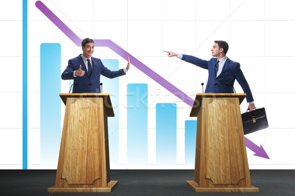 Man businessman making speech at rostrum in business concept Stock photo © Elnur