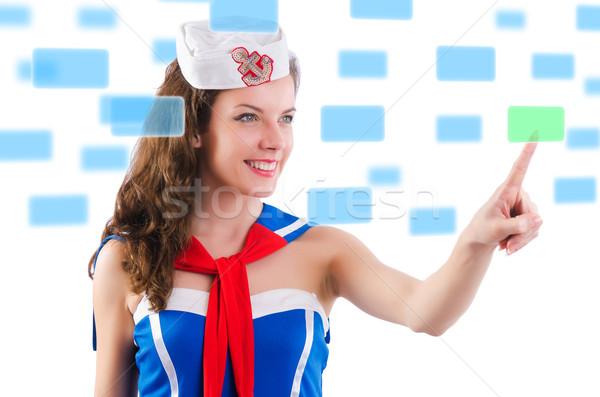 Jonge vrouw virtueel knoppen computer glimlach gelukkig Stockfoto © Elnur