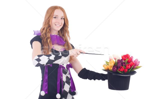 Mágico mulher flores branco flor mão Foto stock © Elnur