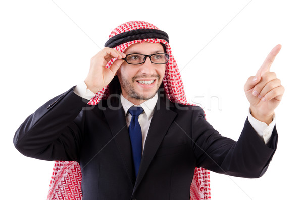 Arab man in specs pressing virtual buttons isolated on white  Stock photo © Elnur