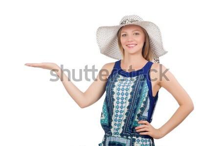 Genç kız Panama moda kavramlar beyaz kadın Stok fotoğraf © Elnur