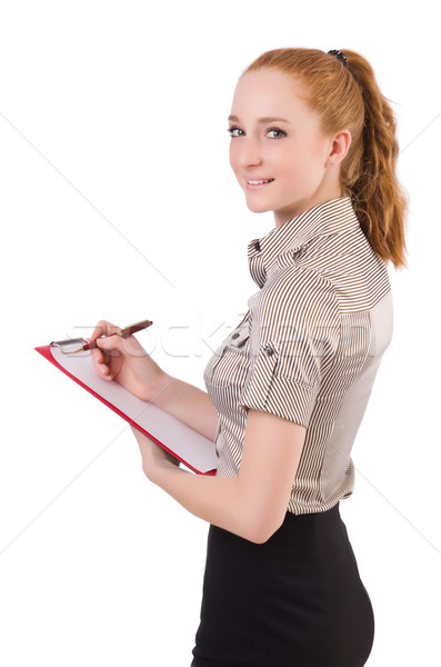 Attractive businesswoman  with binder  isolated on white Stock photo © Elnur