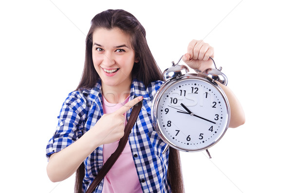 Photo stock: étudiant · répondre · fille · école · temps