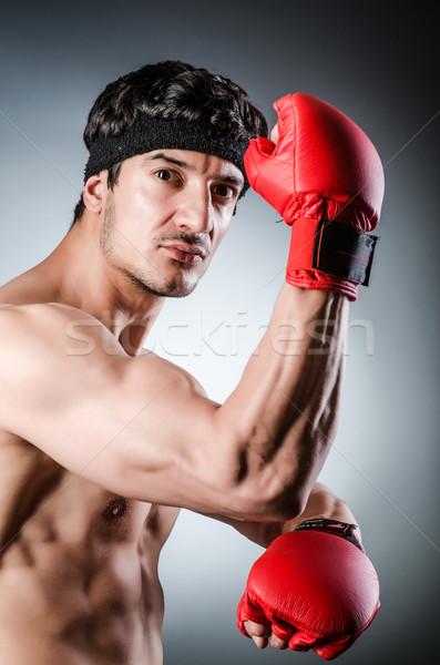 Kas boksör kırmızı eldiven el spor Stok fotoğraf © Elnur