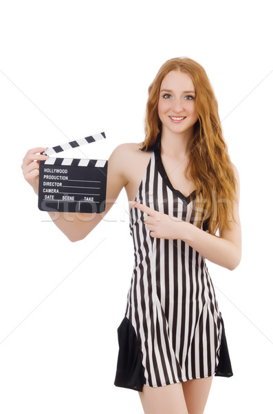 Woman referee with movie clapboard Stock photo © Elnur