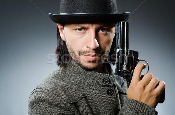 Man pistool vintage hoed business hand Stockfoto © Elnur