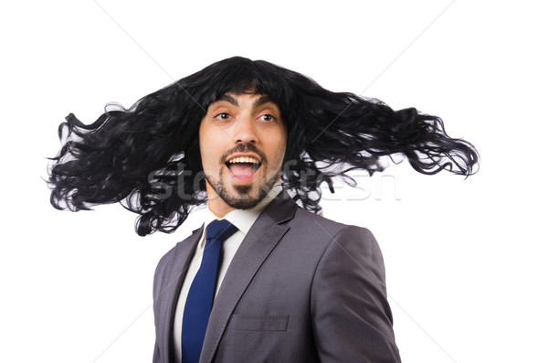 Funny businessman with female wig isolated on white Stock photo © Elnur