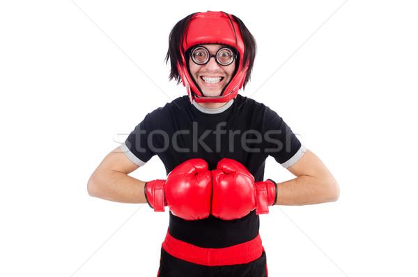 Komik boksör yalıtılmış beyaz el uygunluk Stok fotoğraf © Elnur