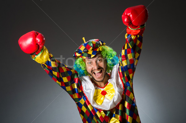 Grappig clown bokshandschoenen vak leuk werknemer Stockfoto © Elnur