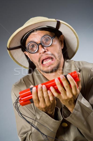 Vicces szafari vadász fegyver piros fehér Stock fotó © Elnur
