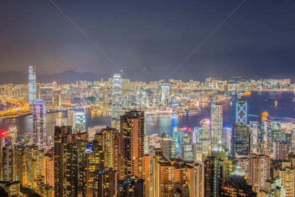 Kilátás Hongkong naplemente üzlet tájkép tenger Stock fotó © Elnur