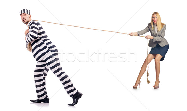 Convicted man and female employee isolated on white Stock photo © Elnur