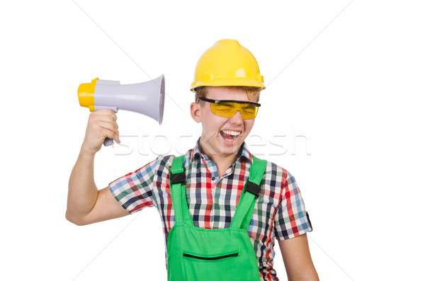 Funny construction worker with loudspeaker on white Stock photo © Elnur