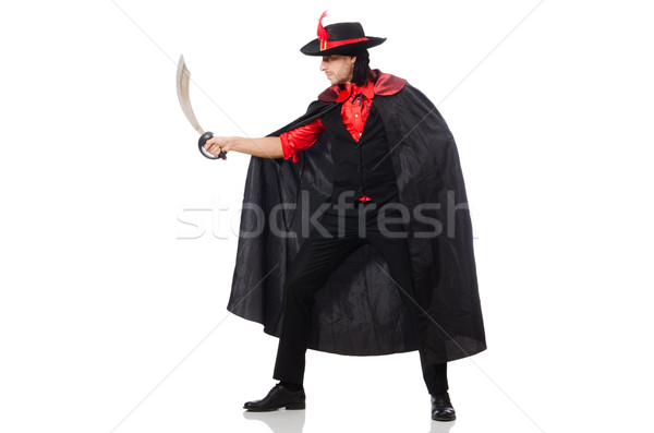 Young man in carnival coat with sword isolated on white Stock photo © Elnur