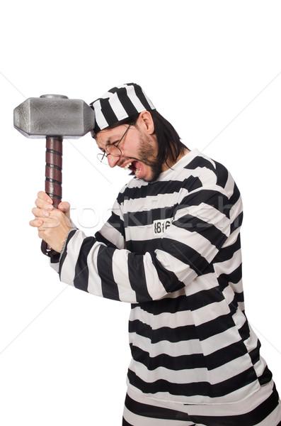 Prisión preso martillo aislado blanco hombre Foto stock © Elnur