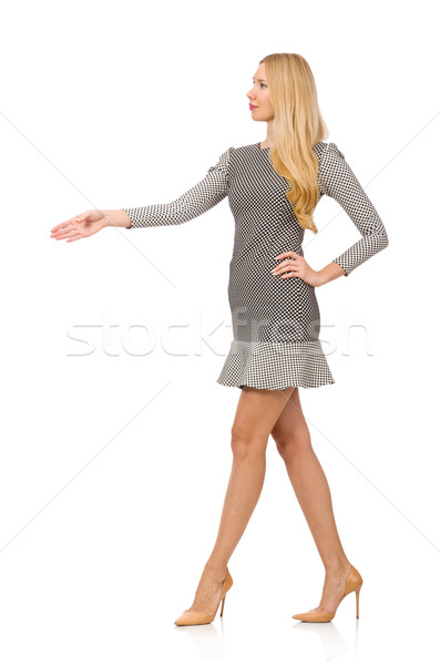 Blond girl in polka dot dress isolated on white Stock photo © Elnur