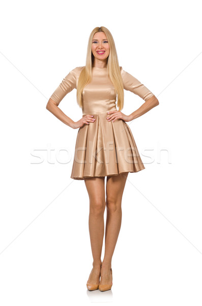 Pretty girl in satin mini dress isolated on white Stock photo © Elnur