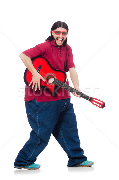 Fat man with guitar isolated on white Stock photo © Elnur