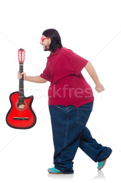 Grubas gitara odizolowany biały muzyki zdrowia Zdjęcia stock © Elnur