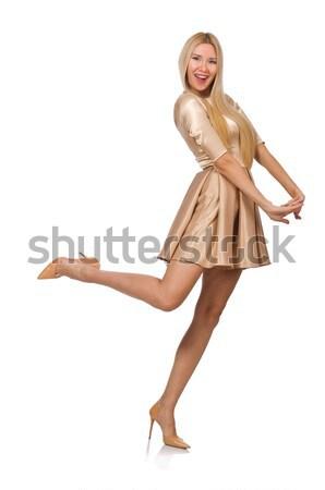Pretty girl in satin mini dress isolated on white Stock photo © Elnur