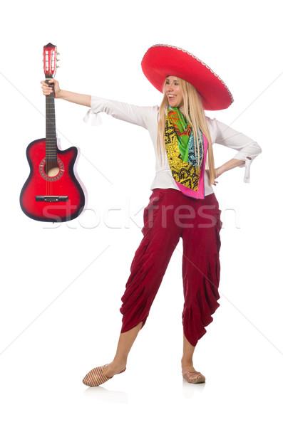 Donna indossare chitarra sombrero musica party Foto d'archivio © Elnur