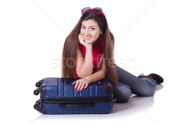 Młoda kobieta dziewczyna szczęśliwy moda tle Zdjęcia stock © Elnur