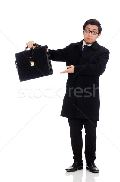 Сток-фото: молодым · человеком · чемодан · изолированный · белый · человека