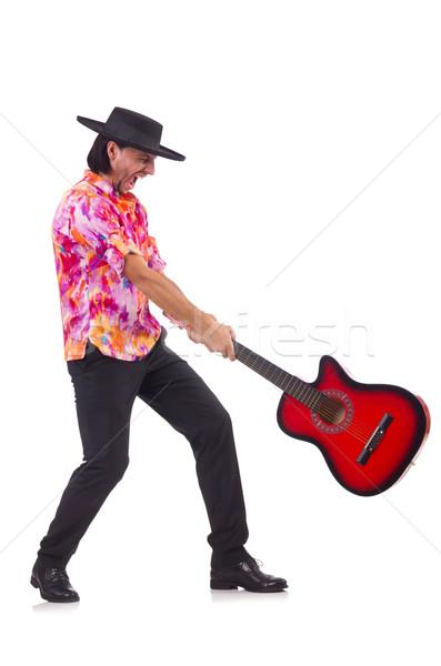 Adam geniş kenarlı şapka gitar parti disko Stok fotoğraf © Elnur