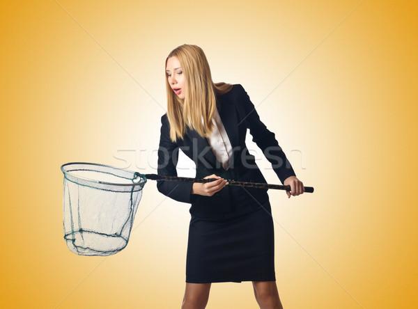 Stock fotó: Nő · net · izolált · fehér · üzlet · lány