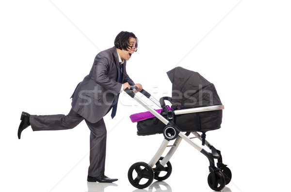 Funny dad with baby and pram on white Stock photo © Elnur