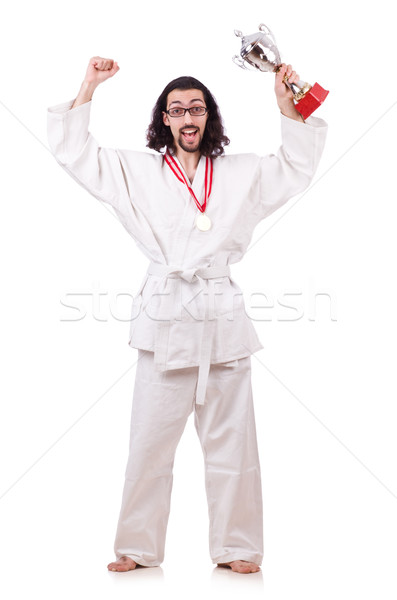 Funny karate fighter with cup on white Stock photo © Elnur