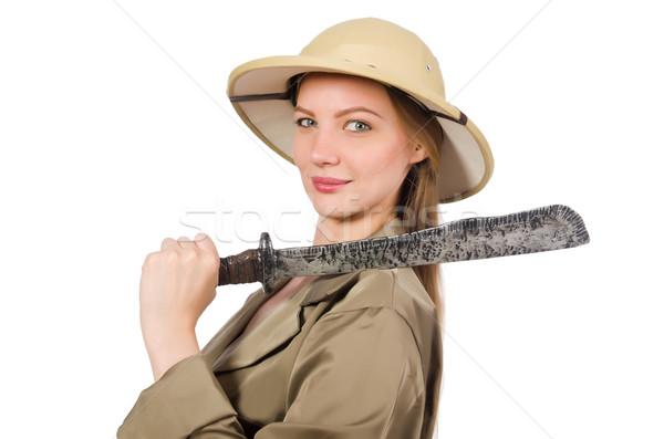 女性 着用 サファリ 帽子 白 太陽 ストックフォト © Elnur