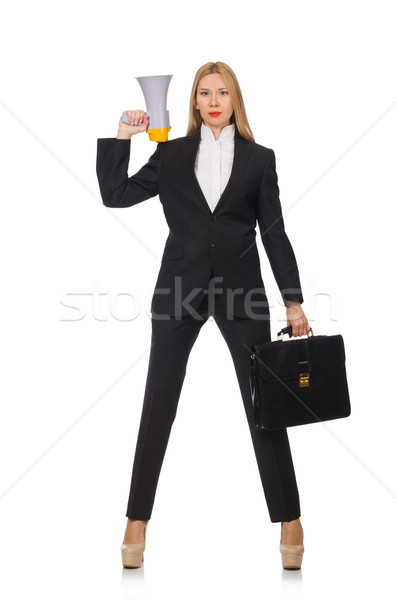 Woman shouting through loudspeaker isolated on white Stock photo © Elnur