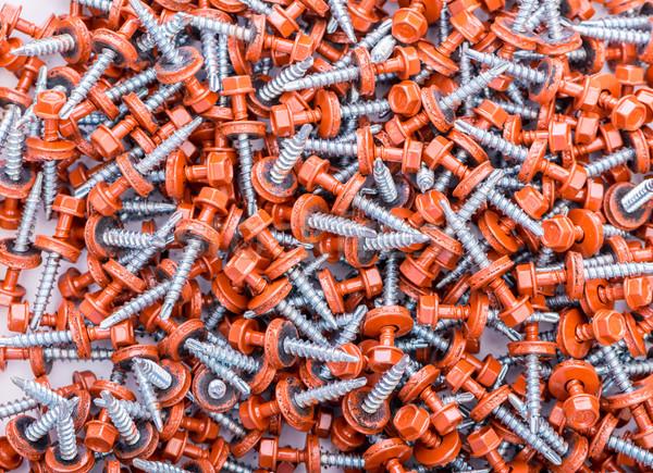 Stok fotoğraf: çok · Bina · arka · plan · Metal · sanayi · kırmızı