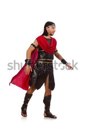 Gladiator odizolowany biały człowiek ubrania rycerz Zdjęcia stock © Elnur