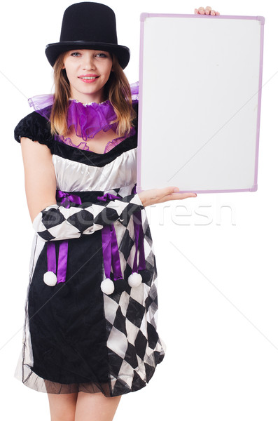 Girl in harlequin costume isolated on white Stock photo © Elnur