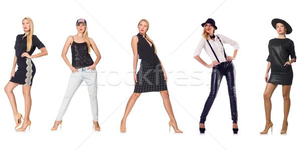 Szett fotók divat lány bőr ruházat Stock fotó © Elnur