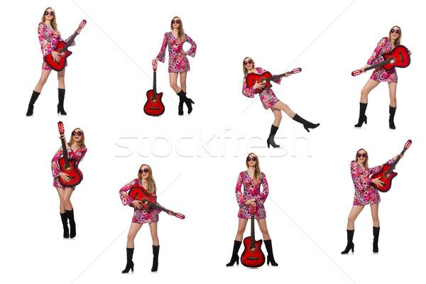 Vrouw gitarist geïsoleerd witte muziek gelukkig Stockfoto © Elnur